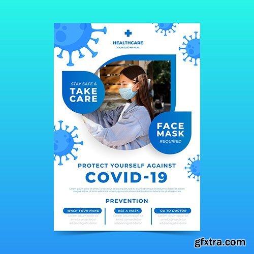 Informative coronavirus flyer vector