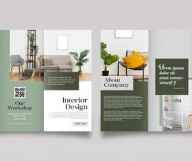 Interior design trifold brochure vector template