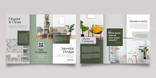 Interior design trifold brochure vector template