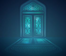 Islamic background design mosque window with light shadow vector