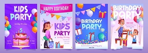 Kids birthday party invitation cartoon banners vector