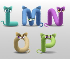 L fur monster alphabet vector