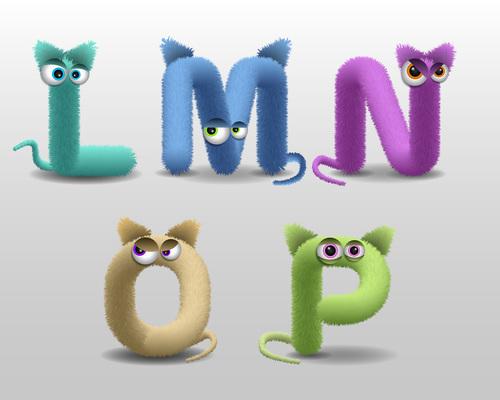 L fur monster alphabet vector
