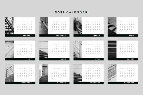 Ladder background 2021 calendar vector