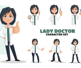 Lady doctor cartoon vector