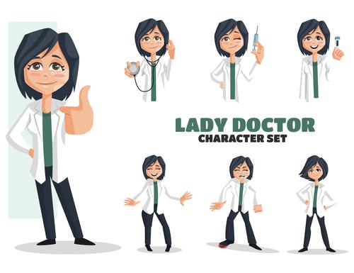 Lady doctor cartoon vector