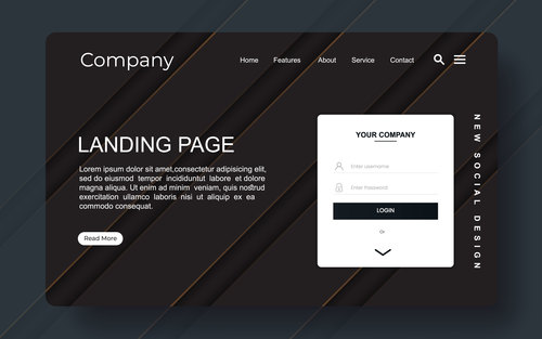 Landing page with abstract background vector