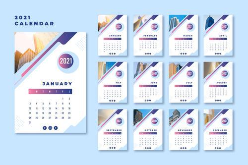 Landmark building cover 2021 calendar vector