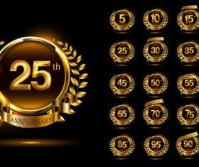 Laurel decoration celebrating anniversary logo vector
