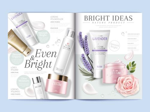 Lavender cosmetics brochure cover vector