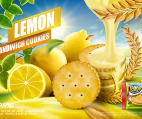 Lemon sandwich cookies advertising vector