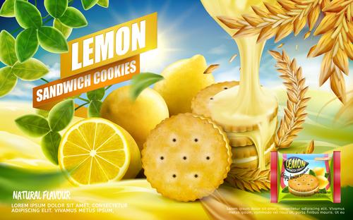 Lemon sandwich cookies advertising vector