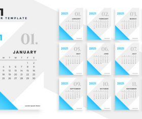 Light blue background 2021 calendar vector