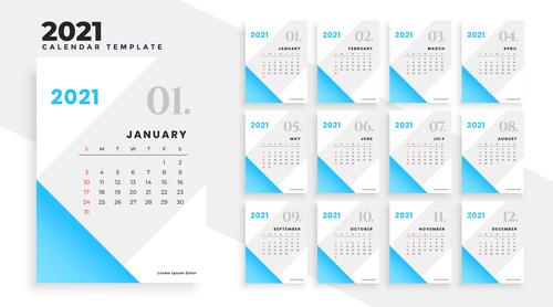 Light blue background 2021 calendar vector