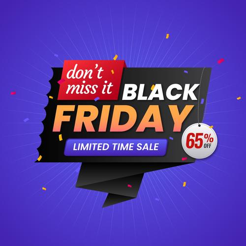 Limited time sale flyer black friday vector