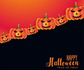 Lined Up Pumpkins Halloween Card Vector