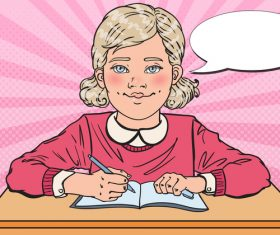 Little girl doing homework cartoon vector