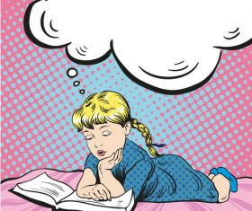 Little girl reading coloring book vector