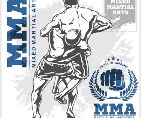 MMA fighting illustration vector