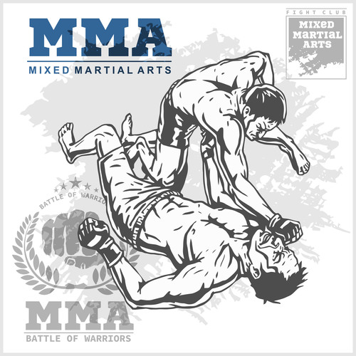 MMA mixed fighting competition flyer vector