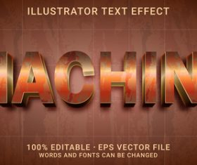 Machine editable font effect text vector