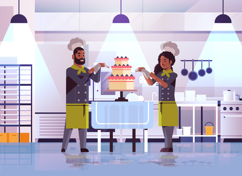 Male and female pastry chef making cake vector