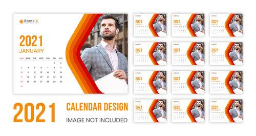 Male cover 2021 wall calendar vector