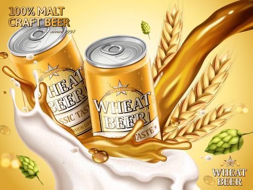 Malt craft beer advertising vector