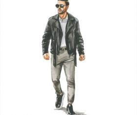 Man in leather jacket watercolor illustration vector