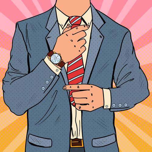Man with tie cartoon vector