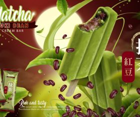 Matcha red bean ice cream ad vector