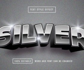 Matte silver font editable font effect text vector