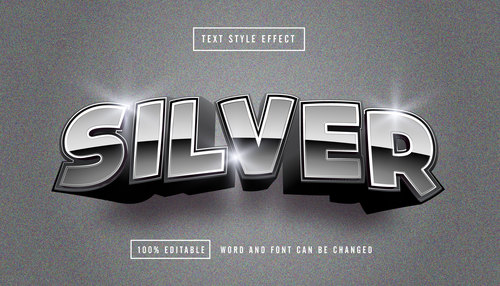 Matte silver font editable font effect text vector