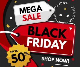 Mega sale black friday vector