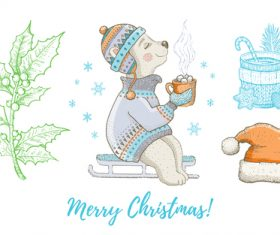 Merry Christmas forest beasts painted illustration vector