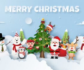 Merry Christmas paper cut background vector