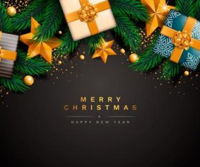 Merry christmas and gift box vector