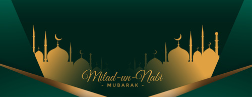Milad un nabi with mosque design silhouette banner vector
