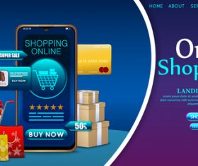 Mobile shopping app vector
