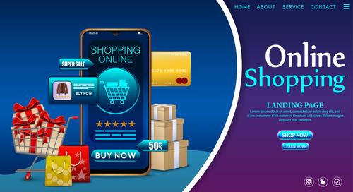 Mobile shopping app vector