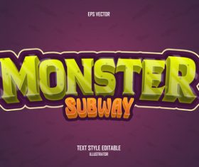 Monster subway editable font effect text vector