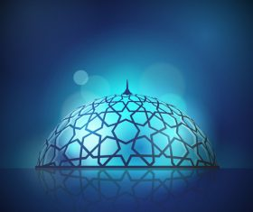 Mosque dome for islamic background design vector