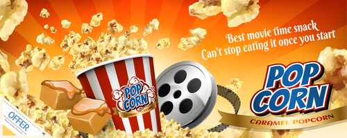 Movie time snack popcorn advertisement vector