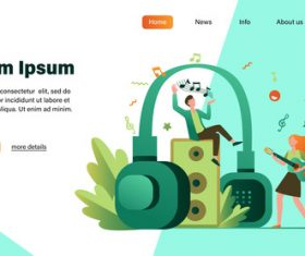 Music man illustration design landing page vector