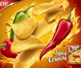 New flavor potato chips advertising vector