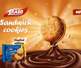 New flavor sandwich biscuits advertising vector