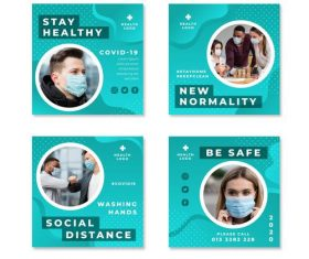 New normality COVID-19 prevention flyer vector