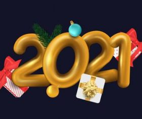 New year 2021 gift vector