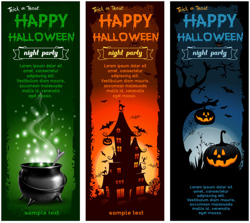 Night party halloween triptych banner vector