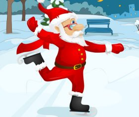 Old man wearing christmas costume skating vector